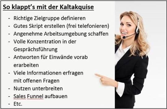 Business Frau erklärt das Konzept der Kaltakquise